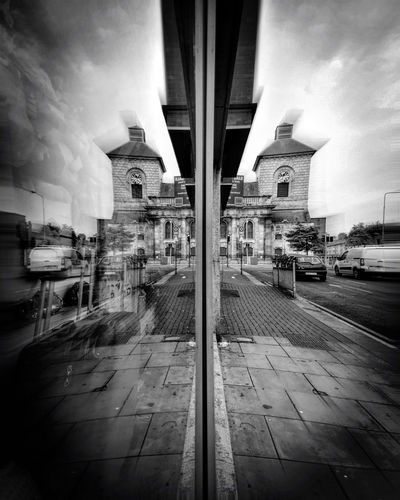 Reflection Street Photography Street Monochrome Black And White Sky City Diminishing Perspective Building Outdoors Road