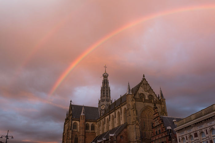 Architecture Beauty In Nature Building Exterior Built Structure Cathedral Cloud - Sky Day Double Rainbow Double Rainbows Gold Gothic Haarlem Low Angle View Nature No People Outdoors Rainbow Rainbow Colors Sint Bavokerk Sky Sunset The Architect - 2017 EyeEm Awards Live For The Story The Week On EyeEm