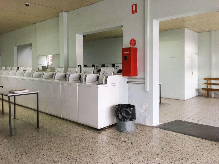 Interior of empty laundromat