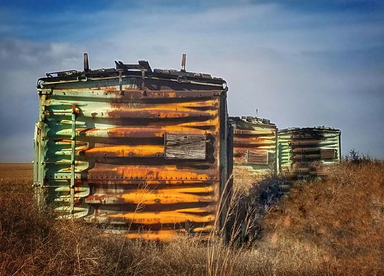 Abandoned train cars in the country No People Railroad Car Box Cars Old But Awesome Ancient Abandoned Day