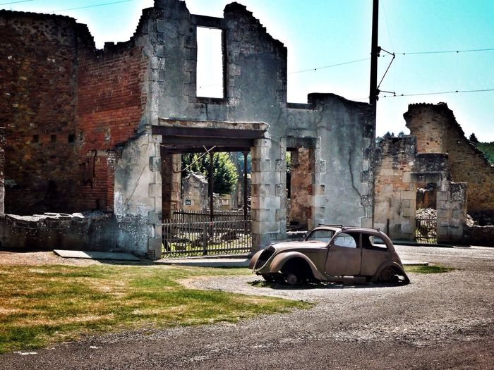 Abandoned Car Old Ruin Transportation Damaged Built Structure Architecture No People Building Exterior Bad Condition Destruction Outdoors Day Sky Oradour Sur Glane Oradour