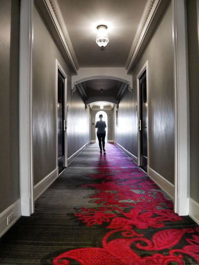 Light At The End Of The Tunnel Light And Shadow Hallway Silhouette Moving Forward  Into The Light Positivity Elegant Hotel Scarlet Carpet Design One Person Illuminated The Way Forward Rear View 10 Path Path Forward Doorway Door