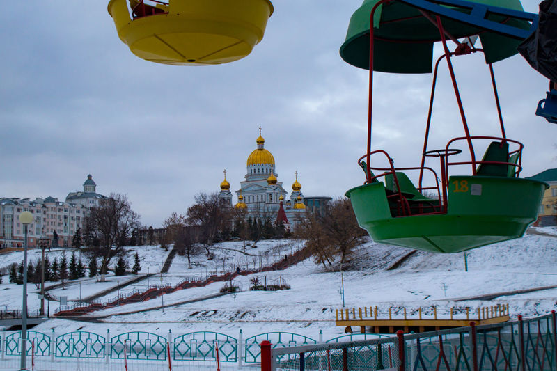 Panoramic view of traditional building against sky during winter