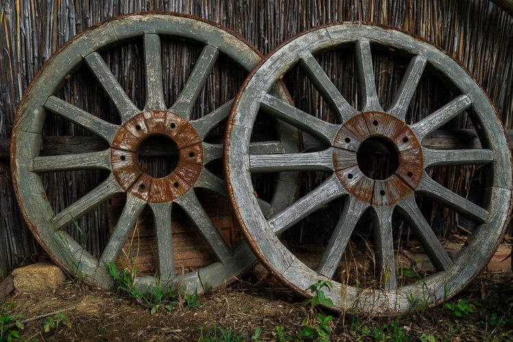 Close-up of old wheel on field