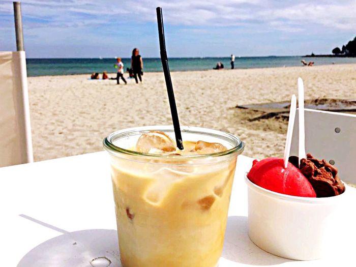 Beach Ice Cream Ice Coffee Hot Day Sand Sea Food And Drink