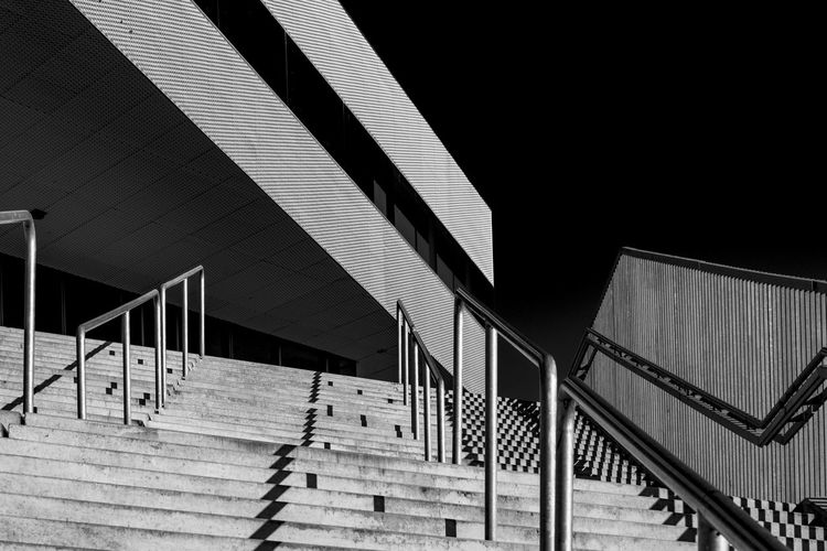 Århus, Denmark Architectural Feature Architecture Bibliothek Blackandwhite Photography Built Structure Denmark Dokk1 Light And Shadow Low Angle View Modern No People Office Building Outdoors Railing Stairs The Way Forward Århus, Denmark