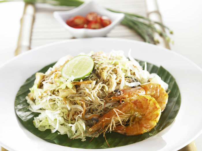 fried rice noodle with prawn Malaysia Food Close-up Food Food And Drink Freshness Fried Mee Healthy Eating Lime Local Food Malay Food No People Plate Prawn Ready-to-eat Rice Noodle  Seafood Rice Noodle