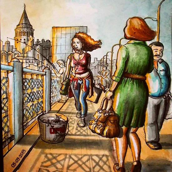 Galatakoprusu Sketching Illustration Watercolour Doodling Marker Rapidograph Pentelbrushpen Artliner Istanbul Sunset