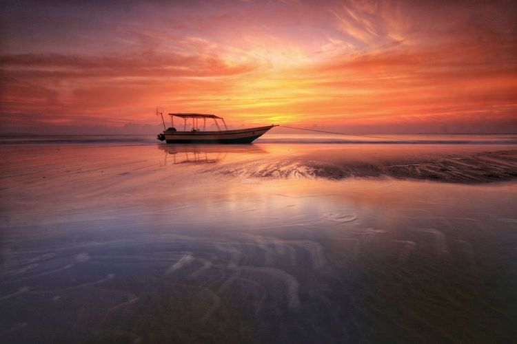 boat with golden sunrise Water Nautical Vessel Sea Sunset Backgrounds Beach Reflection Rowboat Panoramic Sunny Fishing Boat Tide Seascape Boat Wave Low Tide