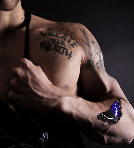 warrior Butterfly Comic Art Katana Malaysia Muscles Shirtless Studio Superman Sword Tattoo Warrior