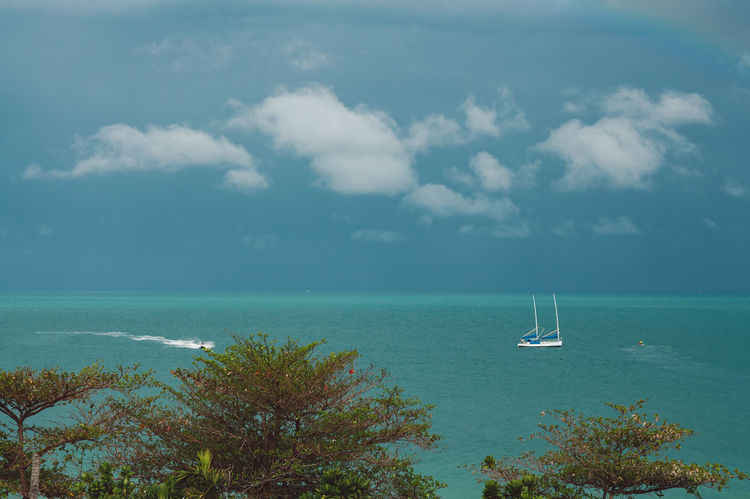 Sea Water Sky Cloud - Sky Nautical Vessel Horizon Horizon Over Water Transportation Scenics - Nature Beauty In Nature Mode Of Transportation Day Tranquil Scene Nature Sailboat Sailing Tranquility Land No People Outdoors Yacht