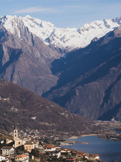 Aerial View Of Townscape By Mountain Against Sky