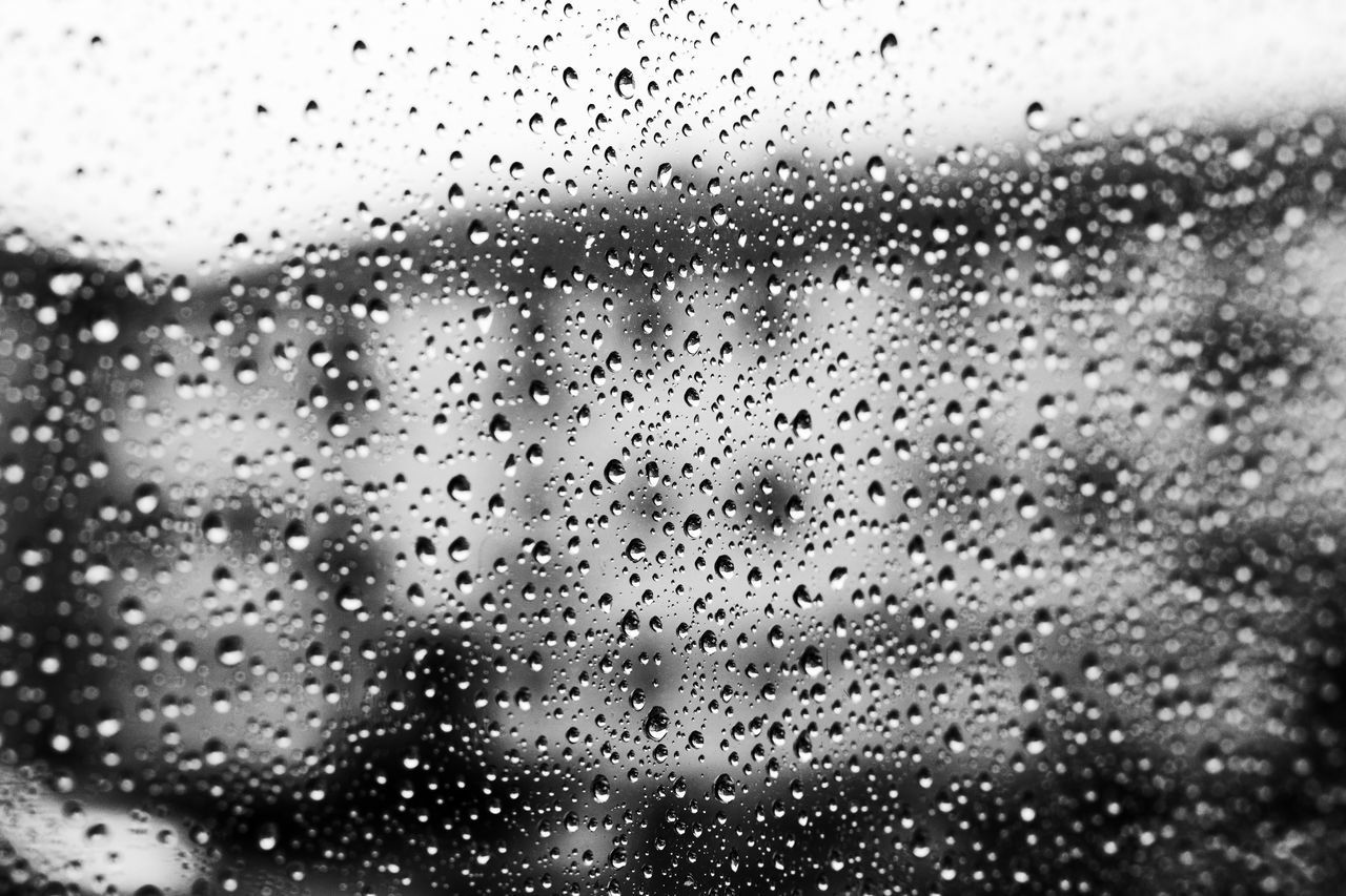 drop, rain, wet, water, weather, raindrop, window, rainy season, glass - material, backgrounds, glass, full frame, condensation, no people, indoors, close-up, droplet, pattern, day, land vehicle, sky, storm cloud, nature, freshness