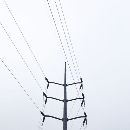 Cable Clear Sky Complexity Connection Copy Space Day Electricity  Electricity Pylon Fuel And Power Generation IPhoneography Low Angle View No People Outdoors Power Cable Power Line  Power Supply Silhouette Simplicity Sky Technology Wire IPS2016White