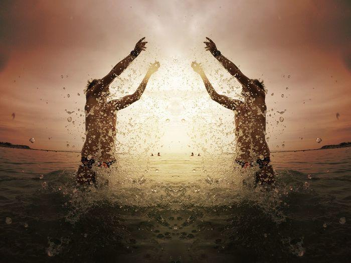 Gratitude Gratitude Water Splashing Sky Sunset Sea Nature 50 Ways Of Seeing: Gratitude Wet Silhouette Human Arm
