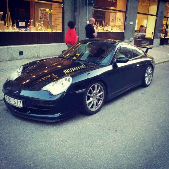 Porsche 911 996 Gt3 street black sportscar stockholm
