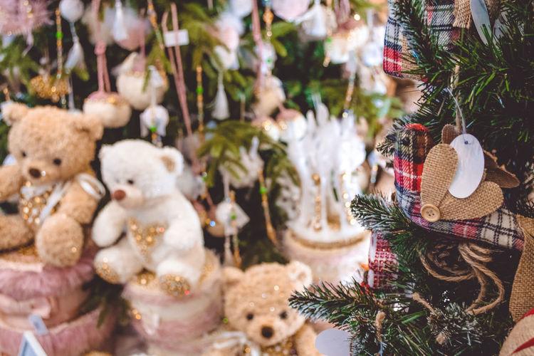 Teddy bears by christmas tree