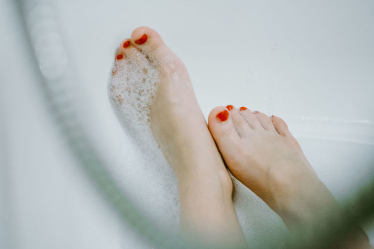barefoot Red Red Nail Polish Beauty Woman Bathtub Body Part Human Body Part Human Leg Human Toe Nail Nail Polish Red Ten Toenail White White Background Women 10
