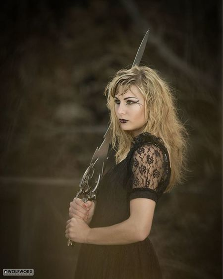 Gothic Dark Sword Fantasy Babesnblades BlackDress Woods Forest Blonde Beautiful Woman Pentax Wolfworx Longhair Makeup Darkdaisies Warrior Princess TBT  Throwbackthursday  Photoshoot Model