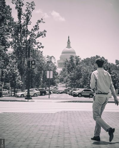 Full Length Rear View Tree Transportation Land Vehicle Architecture Day Casual Clothing Sky Outdoors In Front Of The Way Forward Washington, D. C. Unionstation Blackandwhite Black And White Black & White