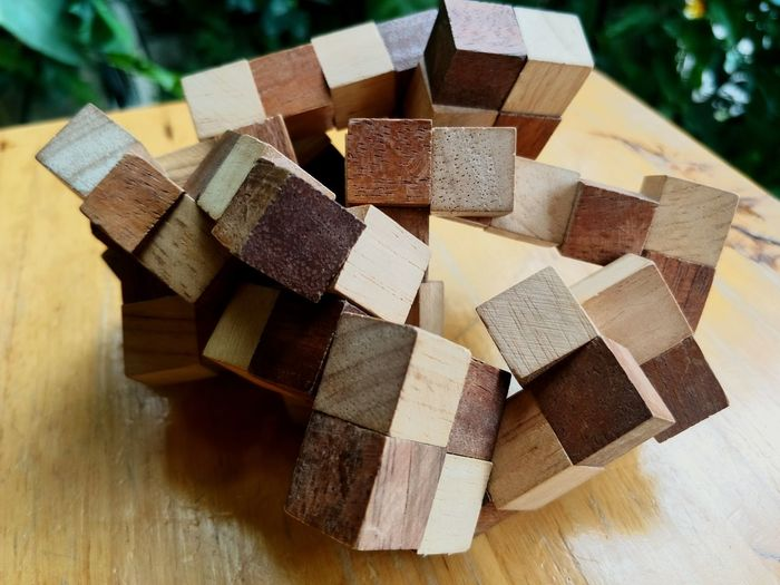 High angle view of wooden toy blocks on table