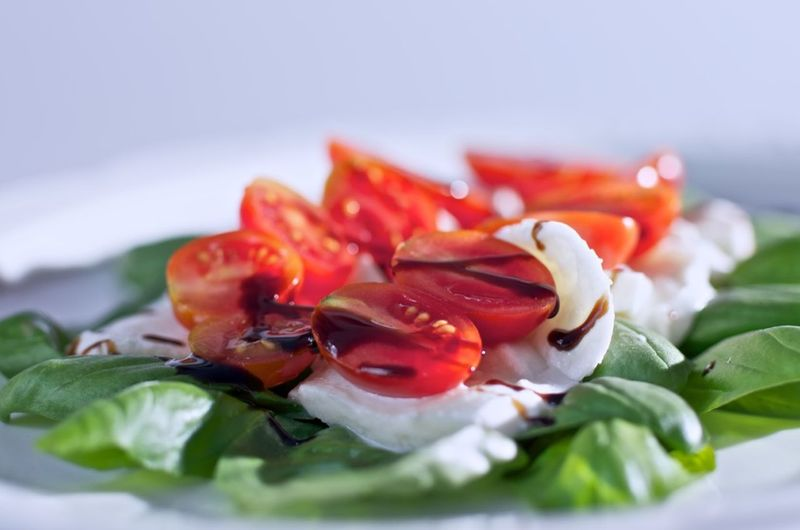 Close-up of red chili peppers in plate