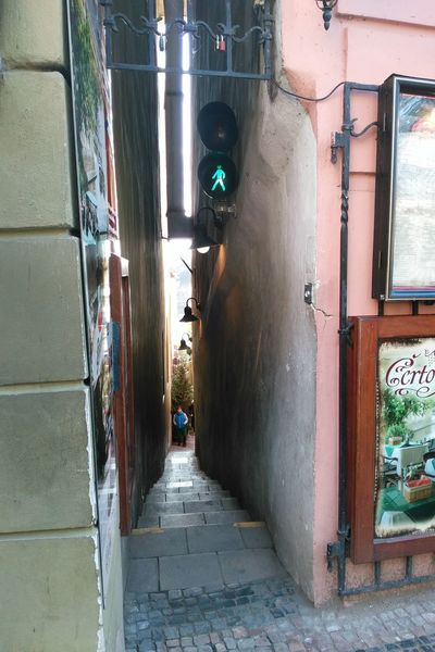 My Year My View Outdoors Prague Narrow Street The Way Forward Czech Republic Traveling Traffic Lights First Eyeem Photo Adapted To The City