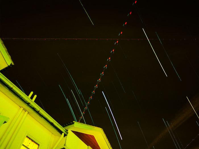 star track Night Sky Star Track Trail Dark Plane Route Sky