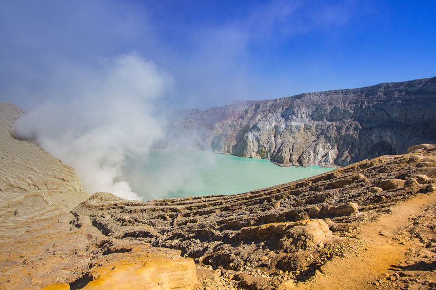 Ijen Crater landscape from the crater, seen on the left is the Ijen only left peak. The Ijen volcano complex is a group of stratovolcanoes in the Banyuwangi Regency of East Java, Indonesia INDONESIA Beauty In Nature Day East Java, Indonesia Geology Ijen Crater Landscape Mountain Nature Non-urban Scene Physical Geography Scenics Sky Tourism Tranquility Travel Destinations