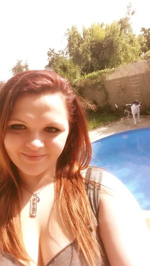 Sunny☀ LOVE THIS WEATHER♡ Cute Dog  Selfie ✌ my dog is in the background. haha. he is so sweet. love him. xoxo. ♡♡