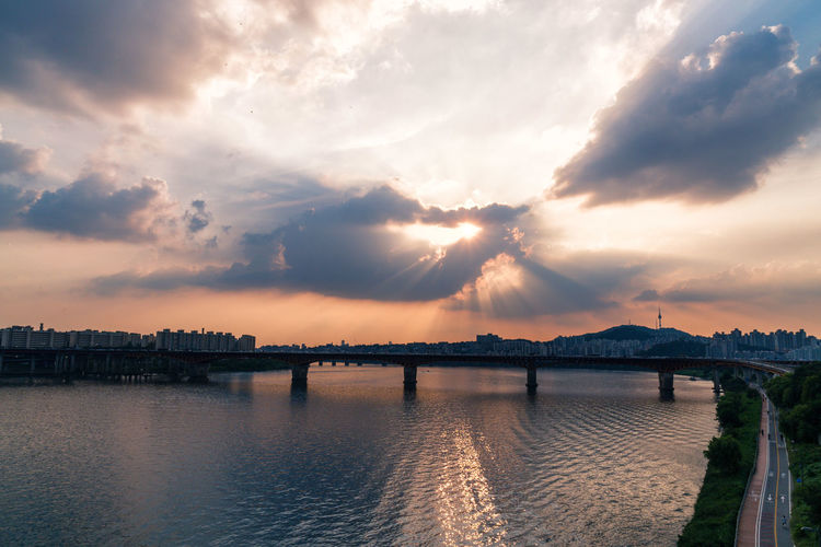 Han River, Seoul, South Korea Beauty In Nature Bridge - Man Made Structure Cloud Cloud - Sky Cloudy Dramatic Sky Majestic Nature No People Outdoors River Scenics Sky Sunbeam Sunset Tranquil Scene Tranquility Water Waterfront First Eyeem Photo