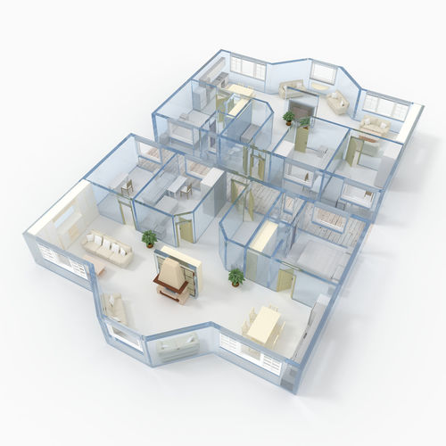 3D rendering of roofless apartment with blue glass walls and furnishings 3D Agency Apartment Architecture Blue Bow Window Building Colorful Construction Flat Glass Home House Indoors  Interior Design Minimalism Modern Furnishings Project Real Estate Rendering Residential Structure Roofless Section Rooms Sale Transparent