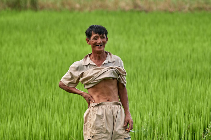 EyeEmNewHere Farm Farmer Green Hoi An Natural Rice Rice Paddy Vietnam Lifestyles Occupation One Person Portrait Smile