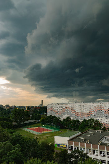 Bow echo clouds over Wroclaw. Forceful winds and heavy rain struck shortly after. Derecho Forces Of Nature Storm Storm Front Architecture Beauty In Nature Beauty In Nature Bow Echo Building Exterior Built Structure City Cityscape Cloud - Sky Nature Power In Nature Residential Building Shelfcloud Storm Cloud Thunderstorm Weather