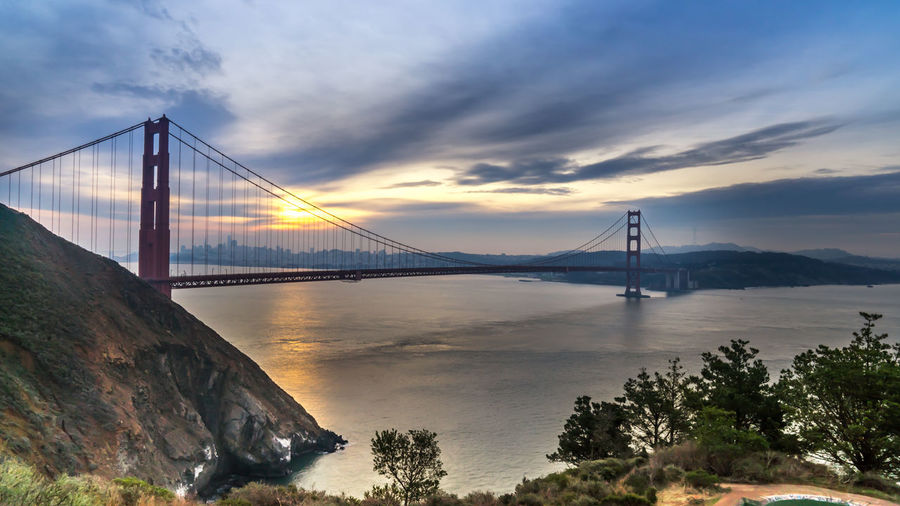 Golden gate bride over san francisco bay during sunset