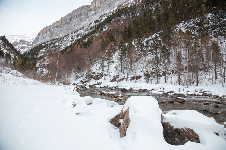 Snow covered rocks against mountain