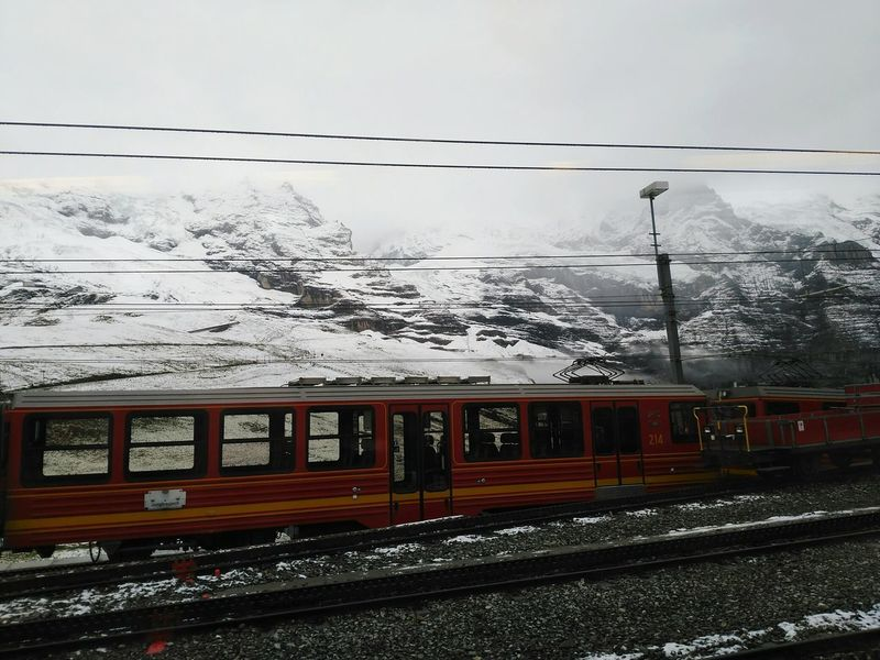 Transportation Railroad Track Rail Transportation Train - Vehicle Public Transportation Mode Of Transport Travel Snow Railroad Station Platform Outdoors Cable No People Day Sky Nature Suiza Switzerland Switzerland Alps Mountain Cloud - Sky Switzerlandpictures Alpessuisses Alpes Your Ticket To Europe