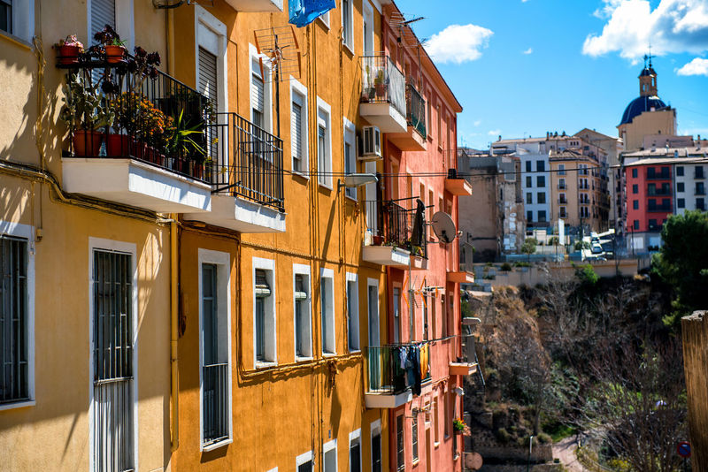 Alcoy city. Province of Alicante, Spain Alcoy Alicante, Spain Ancient Architecture Balcony Blue Sky City Cloud - Sky Colorful Costa Blanca Dwelling Europe Exterior History Houses No People Old Town Outdoors Rustic SPAIN Sunny Day Town Travel Destinations Typical Houses Urban Windows