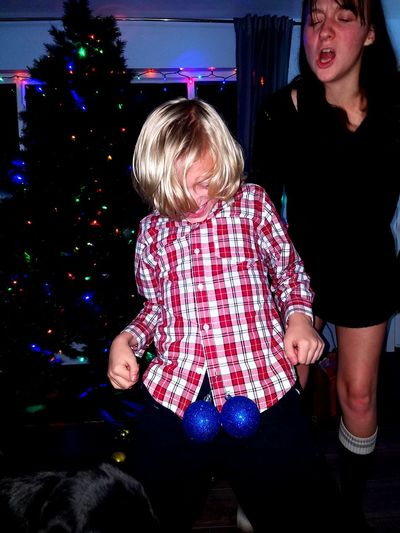 Funny Christmas Togetherness Two People People Christmas Decoration Happiness Christmas Christmas Ornament Fun Brother Sisters Siblings Boys Real People Young Adult Family Holiday - Event Childhood Child Balls Girls Utah Washington Terrace