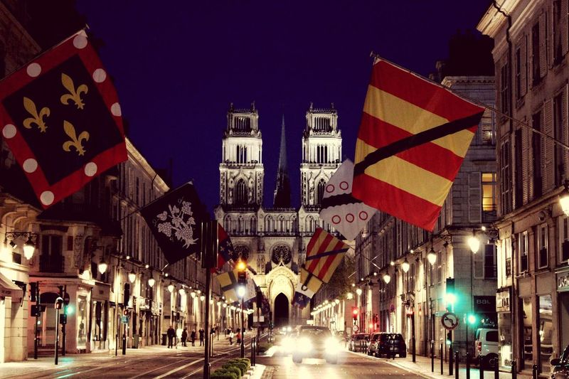 Flag Architecture Night City Orléans France France🇫🇷 Orléans Cathedral