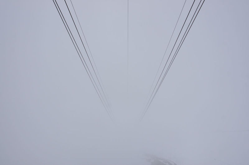 Descending into the Clouds on a Cable Cara. Cable Car Cloud Cable Cable Car View Complexity Full Frame Gray In The Clouds Low Angle View Nature No People Outdoors Sky