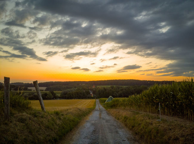 Beauty In Nature Cloud - Sky Diminishing Perspective Direction Environment Field Grass Land Landscape Nature No People Non-urban Scene Outdoors Plant Road Rural Scene Scenics - Nature Sky Sunset The Way Forward Tranquil Scene Tranquility