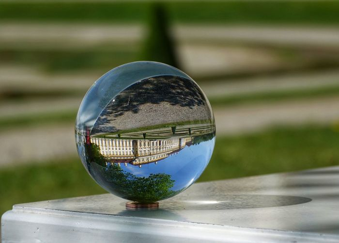 Close-up of crystal ball on table