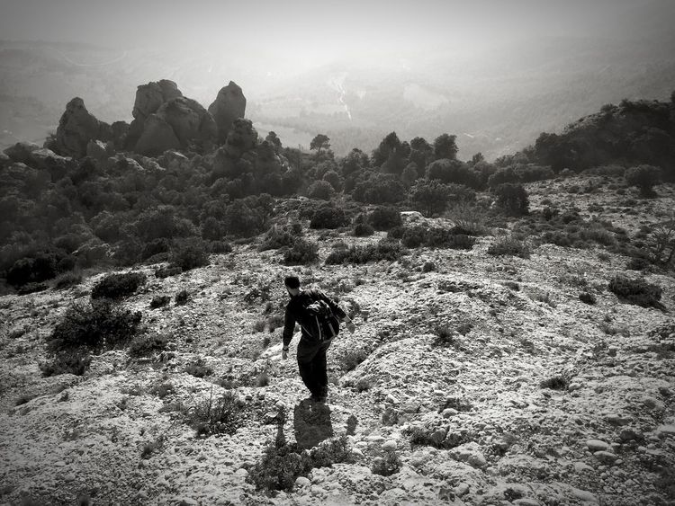 One Person Nature Hiking Black And White Friday