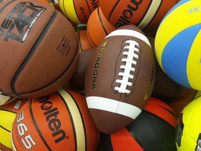 Close-up of various balls