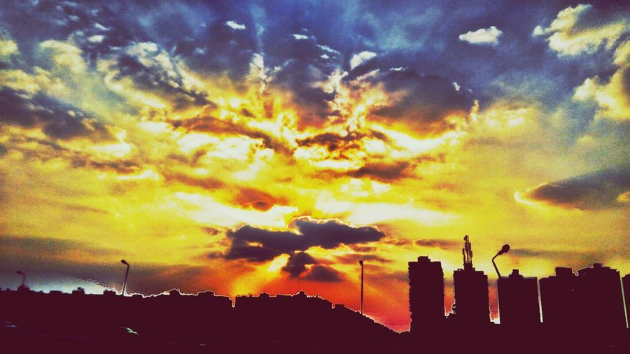 Sky Sunset Silhouette Cloud - Sky Dramatic Sky Built Structure Low Angle View Building Exterior Architecture No People Outdoors Nature Beauty In Nature Tree Day Scenics This Is Egypt ❤ Cairo Egypt Tranquility Clear Sky Arts Culture And Entertainment Beauty In Nature Dramatic Sky Egyptdailylife Silhouette