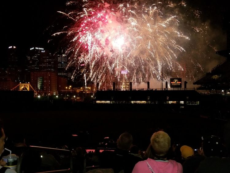 Night Firework Display Celebration Exploding Firework - Man Made Object Arts Culture And Entertainment Event Celebration Event Illuminated Cityscape Multi Colored People Nightlife Outdoors Sky City Excitement Large Group Of People Spectator Pittsburgh Pirates PNC Park Baseball Stadium Pittsburgh Pennsylvania Awe