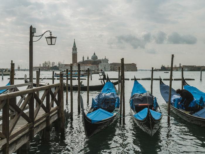 Gondolas and view to San Giorgio Maggiore, Venice Cloud - Sky Italy Nature Nautical Vessel Tourism Transportation Travel Travel Destinations Treavelling Venice, Italy Water