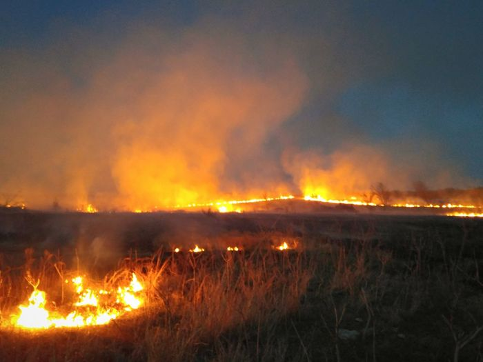 If it's spring, they must be burning the pastures in Kansas. Fire Field Landscape Evening Flames Grass Fire Burn Controlled Burn Pasture Prairie