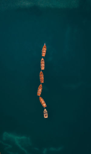 High angle view of toy floating on sea